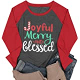 DUTUT Joyful Merry and Bleseed Christmas T Shirt Womens 3/4 Raglan Sleeve Letter Printed Christmas Candy Shirt Tops