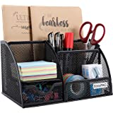 EasyPAG Mesh Desk Organizer Office Supplies Caddy 6 Compartments with Drawer, Black