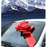 """Big Red Car Bow Ribbon - Large Gift Decoration, Fully Assembled, 25"""" Wide, Christmas, Birthday, Valentine's Day"""