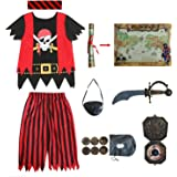Lingway Toys Kids Pirate Costume,Pirate Role Play Dress Up Completed Set 8pcs for Boys Size 3-4,5-6,7-8,8-10