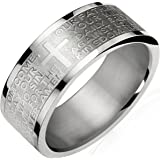 Dahlia Stainless Steel English Lord's Prayer 8mm Band Ring - Men