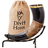 Divit Drinking Horn with Iron Stand (Jarl, Polished)