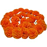 FIORINTI Marigold Artificial Flower Silk Heads with Stems 30 Pack and 5 feet String Garlands for Decoration Indian/American W