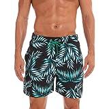 Basic Model Men's Casual Printed Shorts Swim Trunks with Elastic Waistband & Pockets
