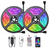 Bluetooth LED Strip Lights Music Sync, Waterproof 5050 RGB 2x5 Meters LED Strip Lights 300 LED, Smart Phone and Remote Contro