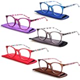 5 Pack Reading Glasses Ladies Stylish Color Round Pattern Design Readers for Men and Women