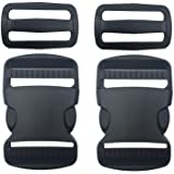 """2 Set 1.5"""" Flat Heavy Duty Buckles Dual Adjustable Buckles and Tri-Glide Slides Quick Side Release Buckle for Luggage Straps"""