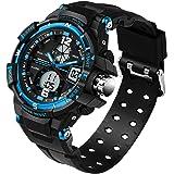 メンズ アナログデジタルLED 50m 防水 アウトドアスポーツウォッチ ミリタリー 多機能 カジュアル デュアルディスプレイ 12時間/24時間ストップウォッチカレンダー 腕時計 L ブルー