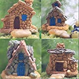 Trasfit 4 Pieces Miniature Fairy Garden Stone House - Mini Fairy Cottage House for Garden & Patio Decoration - Accessories fo