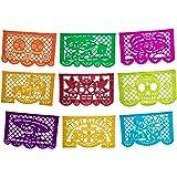 Altar de Ofrendas Dia de los Muertos Mexican Papel Picado Tissue Paper Banner. Colorful Day of the Dead Decorations Medium Si