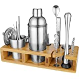 BRITOR Cocktail Shaker Set -Bartender kit with Bamboo Stand