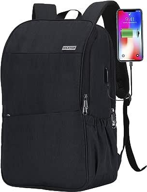 旅行用ノートパソコンバックパック USB充電ポート+盗難防止[防水]カレッジスクールブックバッグ 16インチノートパソコン対応, Black(large), 17 inch