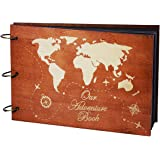 PartyKindom Our Adventure Book Wooden Scrapbook Photo Album Book for Anniversary, Wedding Gift, Travelling, Box Package, 80 P