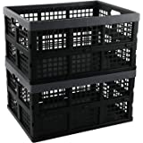Sosody 34 Litre Plastic Storage Crates Large Laundry Baskets, Black and Deep Grey, 2 Packs