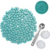 150 Pieces Sealing Wax Beads Set, Mornajina Heart Shape Seal Wax Beads for Seal Stamp Turquoise