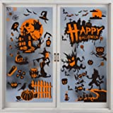 CCINEE Halloween Window Cling Stickers,Witch Skeleton Double-Sided Gel Window Decal for Halloween Party Decoration,8 Sheets