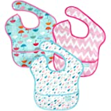 Bumkins SuperBib, 6-24 Mths+, Umbrella,Raindrop,Pink Chevron, 3ct