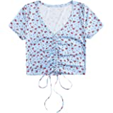 Milumia Women V Neck Crop Top Drawstring Stretchy Short Sleeve Tee T-Shirt Tops
