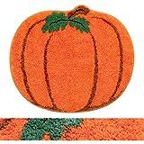 RORA Halloween Bath Rug for Kids Orange Pumpkin Shape Cartoon Bathroom Mat Plush Water Absorbent Bathtub Bathroom Doormats No