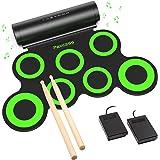 PAXCESS Electronic Drum Set, Roll Up Drum Practice Pad Midi Drum Kit with Headphone Jack Built-in Speaker Drum Pedals Drum St