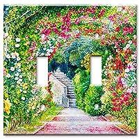 アートプレートブランドスイッチ/壁プレート–Flower Garden マルチカラー 8539-D