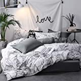 Marble Duvet Cover Set Queen Size Bedding Set Black and White Abstract Comforter Cover with Zipper Ties Soft Lightweight Micr