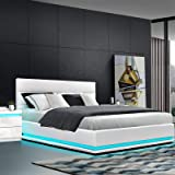 Artiss Double Bed Frame LED Bed Base Leather with Gas Lift Underneath Storage White