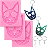 Self-Defense Cat Keychain Silicone Molds Glossy Self-Defense Cat Keychain Silicone Mold with Key Rings for DIY Polymer Clay C