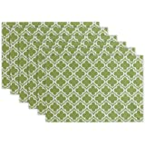 DII 100% Polyester, Double-Sided Indoor/Outdoor Spillproof Placemat, 13x19, Fresh Spring Lattice, Set of 6