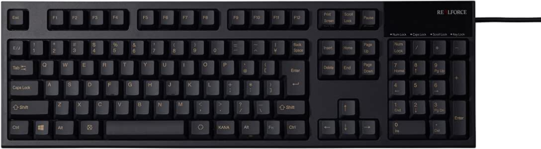 東プレ REALFORCE R2 日本語108配列 静電容量無接点方式 USBキーボード 荷重45g レーザー刻印 かな表記なし ブラック R2-JP4-BK