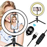 "LED Ring Light 10"" with Tripod Stand & Phone Holder - Dimmable Desk Makeup Ring Light for YouTube Video Live Stream Makeup Ph"