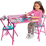 """Kids Table & Chairs Set - Trolls World Tour 4Piece Child Furniture (2 Padded Chairs & One Table 24""""X 20""""H) Activity Set Best"""