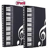 WOGOD Music Sheet File Paper Documents Storage Folder Holder Plastic.A4 Size,40 Pockets (2 Pack Black)