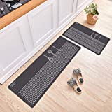 Gigicloud 2Pcs/Set Nonslip Floor Mat Oil Absorbent Long Kitchen Carpet Rug for Home Kitchen Grey kitchenware 40 * 60+40 * 120