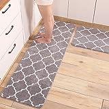 Gigicloud 2Pcs/Set Microfiber Kitchen Floor Mat Anti Slip Oil Absorption Water Absorption Balcony Carpet Gray 43X61+43X122cm