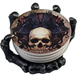 """DWK 5.5"""" Helping Hand Beautiful Gothic Skull Beverage Coasters with Creepy Skeleton Hand Holder for Halloween Home Kitchen Di"""