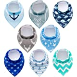 PandaEar Baby Bandana Drool Bibs 8 Pack for Drooling and Teething, Super Absorbent Hypoallergenic, Neutral Color for Boys & G