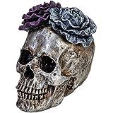 E.SUN CRAFT Halloween Skull Statues Home Decor Day of Dead Purple Grey Rose Silver Skull Resin Figurine Flower Skull Decor 7.