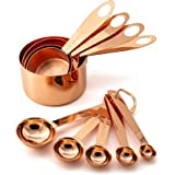 9 Piece Copper Stainless Steel Measuring Cups and Spoons Set with Engraved Measurements, 2 D-Rings & Mirror Polished for Dry,