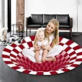 Vortex Illusion Rugs, 24×24 Inches Christmas 3D Optical Illusion Rug, Red White Plaid Stereo Visual Vortex Non Slip Non-Woven