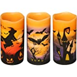 DRomance Flameless Flickering Candles Battery Operated with 6 Hour Timer, Set of 3 Real Wax LED Pillar Candles Warm Light wit