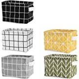 Tamicy Mini Storage Basket(Pack of 5)- Blend Storage Bins for Makeup, Book, Baby Toy,8x6x5.5 inch Home Decor Canvas Organizer