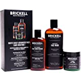 Brickell Men's Daily Advanced Face Care Routine I, Gel Facial Cleanser Wash, Face Scrub, Face Moisturizer Lotion, Natural and