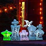 SEASONBLOW 7 Ft Inflatable Halloween Gravestone Tombstone Graveyard Headstone with Ghost Decoration for Yard Lawn Garden Home