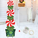 Christmas Halloween Yard Stakes Signs with String Lights, 47in Candy Xmas Outdoor Decorations H Frame Stakes Weather Resistan