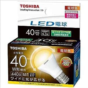 東芝 LED電球 ミニクリプトン形 40W 広配光 L色 【品番】<T>LDA4L-G-E17/S/40W
