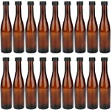 Amber Wine Bottles, 18 Pack COMUDOT 300ML Brown Glass Beer Bottles with Black Screw Lids for Home Brewing, Drinks, Parties, W