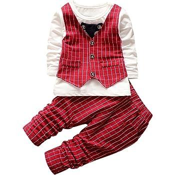 c4cf65c96a916 QIAONAI 男の子 スーツ ベビー服 子供服 男の子 フォーマル スーツ ロンパース 上下2点セット Tシャツ
