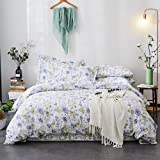 Merryfeel Cotton Quilt Cover Set,100% Cotton Floral Printing Doona Cover Set - Soft -Queen