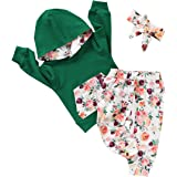 CARETOO Infant Toddler Girls Clothes, Baby Girl Outfit Sets 3Pcs Long Sleeve Hoodie Tops Floral Pants with Headband